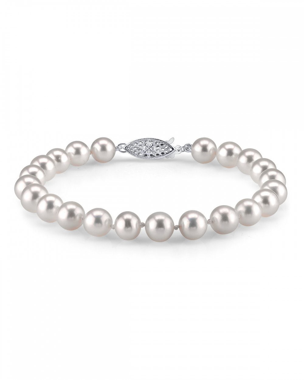 THE PEARL SOURCE 14K Gold 7-8mm AAAA Quality Round White Freshwater Cultured Pearl Bracelet for Women by The Pearl Source