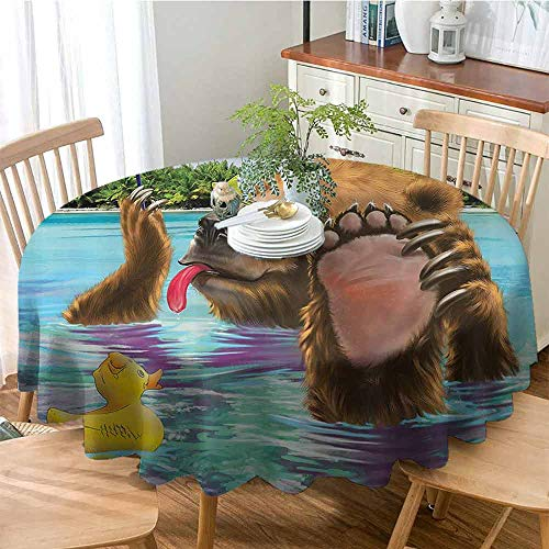 GOMAE Creative Round Tablecloth Happy Fancy Wild Bear in The Sea by The Beach with its Sunglass Candies Print Buffet Table,Parties,Holiday Dinner,Wedding,Picnic,Kitchen Multicolor ()