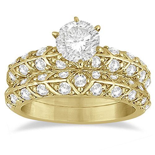 Unique Diamond Bridal Set Wedding Ring and Band Bridal Set For Women in 14k Yellow Gold (1.24ct) 14k Yellow Gold Ring Mounting