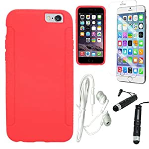 [STOP&ACCESSORIZE] RED SOFT GEL GUMMY COVER SILICONE SKIN CASE for APPLE IPHONE 6 4.7 INCH + FREE ACCESSORY KIT