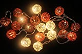 Rattan ball String Lights Earth Brown Tone Lantern String Light Kid Bedroom Light Display Garland Colorful Battery AA LED 25 lights