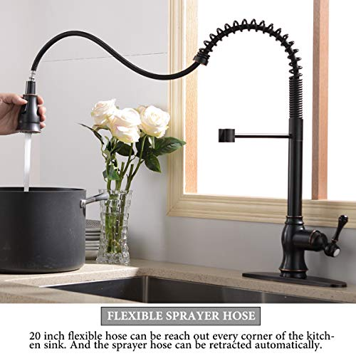 Antique Spring Single Handle Pull Down Sprayer Oil Rubbed Bronze Kitchen Faucet, Kitchen Faucet Bronze With Deck Plate by SHACO (Image #5)