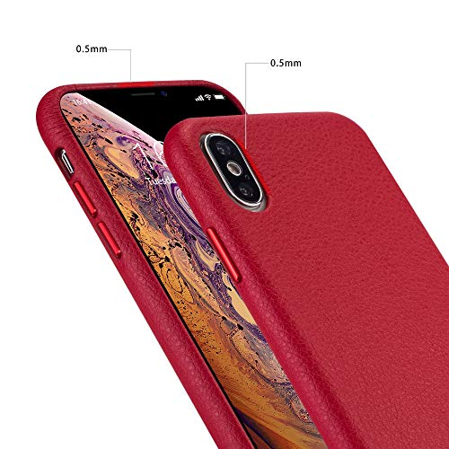 iPhone x Case iPhone Xs Case Rejazz Anti-Scratch iPhone x Cover iPhone Xs Cover Genuine Leather Apple iPhone Cases for iPhone x/xs (5.8 Inch)(Red) (Genuine Iphone Leather Apple)