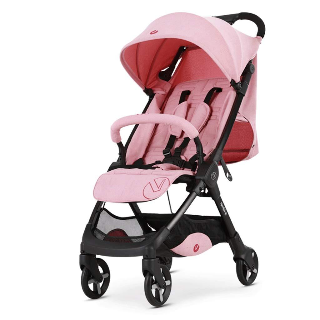 100%のブランドの新しいベビーカー 軽量ベビーカー、折りたたみ式5点式シートベルトブレーキショックアブソーバーのデザイン調整可能なベビーカー 旅行する (Color : Pink)  Pink B07T54VCNN