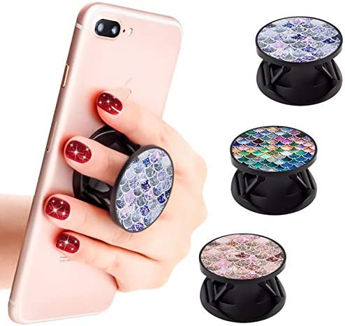 New Version Phone Holder 3 Pack Mermaid Pattern Expanding Grip Stand Finger Holder for Smartphone and Tablets