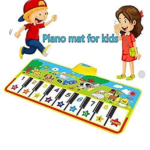 (billyu Piano Mat Keyboard Playmat Electronic Portable Educational Dance Musical Mat 53.2''X 23.6'' with 19 Keys Musical Playmat for Kids)