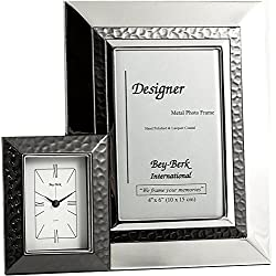 Bey-Berk Chrome with Gunmetal Accent 4 x 6 in. Frame and Clock