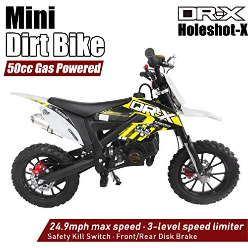 DR-X Kids Dirt Bike Holeshot-X 50cc Gas Power Mini Dirt Bike 20inches Seat Height Dirt Off Road Motorcycle, Pit Bike Fully Automatic Transmission, Yellow(Decal may slightly diff from photo)
