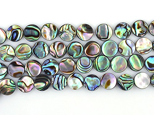 8mm Natural Abalone Shell Flat Coin Beads Strand 16