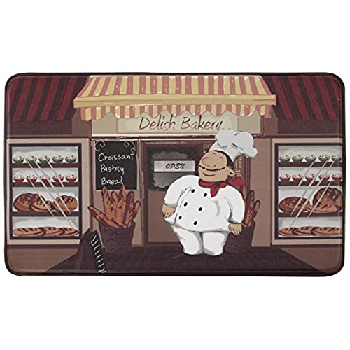 Chef Gear Happy Chef Faux Leather Anti Fatigue Cushioned Chef Mat, 18 By  30 Inch