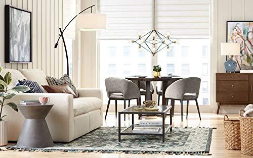Modern Arc Floor Lamp Bronze Off White Linen Drum Shade Adjustable for Living Room Reading Bedroom Office - Possini Euro Design
