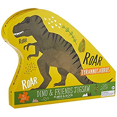 Floss and Rock Dinosaur 40 pc Jigsaw with Shaped Box Puzzles for Ages 3 to 7: Toys & Games