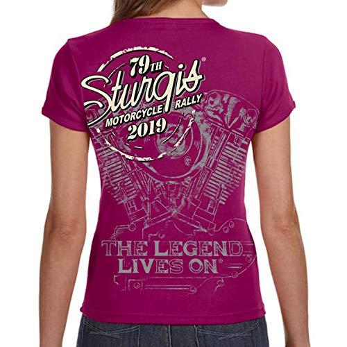 Biker Life Clothing Ladies 2019 Sturgis Black Hills Rally Legend Engine T-Shirt