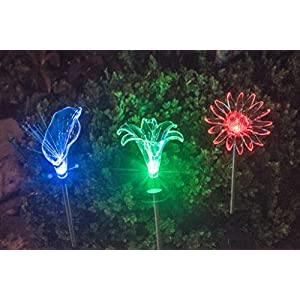Grant Park 3-Piece Color Changing Vivid LED Solar Lights - Sunflower, Lily, Calla Arum Flowers for Outdoor Landscape Yard Pathway Garden Flower Bed Lighting