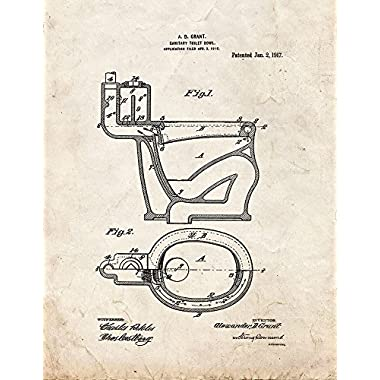 Sanitary Toilet-bowl Patent Print Art Poster Old Look (8.5  x 11 )