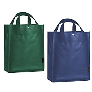 10 Packs of Grocery Bag Reusable Retail Storage Shopping Tote with Snap Button,5 Navy+5 Dark Green