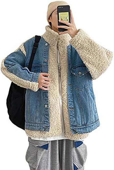 [MLboss]ボアデニムジャケット メンズ ジージャン 厚手 防寒 コート レイヤード デニム ボアジャケット もこもこ 暖かい カジュアル 冬服 ジャケット ストリート系