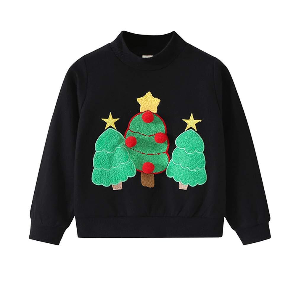 Kids Boys Girls Christmas Sweatshirt 2-11T Toddler Young Round Collar Print Comfort Warm Pullover Tops