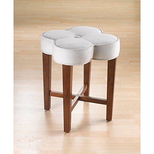 Clover Vanity Stool, Whimsical and Charming, Lovely Addition to Your Bed or Bath, Tapered Legs and Soft White Fabric Covers the Uniquely Shaped Seat, Cherry Finish + Expert Guide