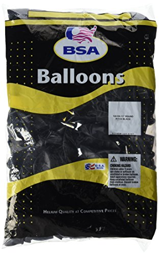 """PIONEER BALLOON COMPANY 71119 Solid Round Latex Balloons, 11"""", Pitch Black"""