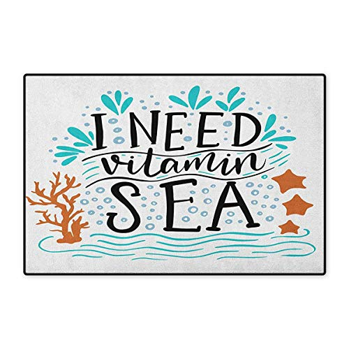 """Sea,Door Mat for Tub,I Need Vitamin Sea Inspirational Quote Hand Drawn with Coral Waves Starfishes Bubbles,Customize Door Mat with Non Slip Backing,Multicolor,Size,16""""x24"""" (W40cm x L60cm)"""
