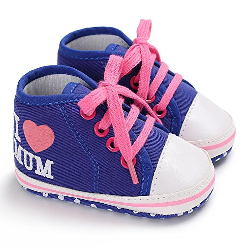 Print Mum (Love Dad Mum Heart shape Print Baby Boys Girls Shoes Canvas Toddler Sneakers Anti-Slip Infant First Walkers (Blue Mum, 6-12Months/4.7inch))