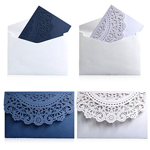 Envelopments Wedding Invitations Pocketfold Wedding Invitations 10pcs/set European Style Tri-Fold Lace Business Invitation Cards Laser Cut Wedding Engagement Invitations Cards Party Decoration (Random)