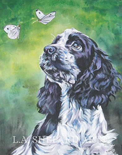 A English Cocker Spaniel dog art portrait print of an LA Shepard painting 8x10
