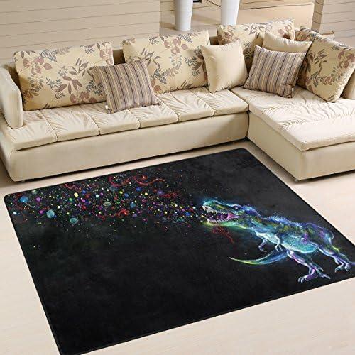 ALAZA Watercolor Cute Dinosaur Black Area Rug Rugs for Living Room Bedroom 7 x 5