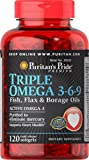 Puritan's Pride Triple Omega 3-6-9 Fish, Flax & Borage Oils-120 Softgels