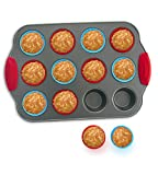12-Cup Mini Muffin Pan with Silicone Muffin Cups (Set of 12) by Boxiki Kitchen | Professional Nonstick Bakeware | Heavy Grade Steel and Silicone Muffin Tins