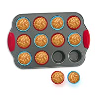 12-Cup Mini Muffin Pan with Silicone Muffin Cups (Set of 12) by Boxiki Kitchen   Professional Nonstick Bakeware   Heavy Grade Steel and Silicone Muffin Tins