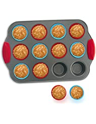 12-Cup Mini Muffin Pan with Silicone Muffin Cups (Set of 12) by Boxiki Kitchen