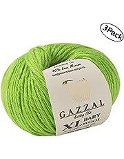 3 Pack (Ball) Gazzal Baby Wool XL Total 5.28 Oz / 328 Yrds, Each Ball 1.76 Oz (50g) / 109 Yrds (100m) Super Soft, Medium-Worsted Yarn, 40% Lana Merino 20% Cashmere Type Polyamide, Green - 821