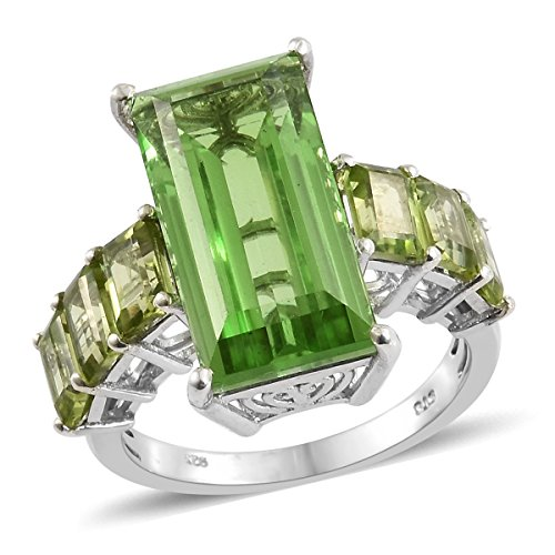 Baguette Peridot Ring - 925 Sterling Silver Platinum Plated 14.1 Cttw Baguette Chartreuse Quartz, Peridot Ring For Women Size 9