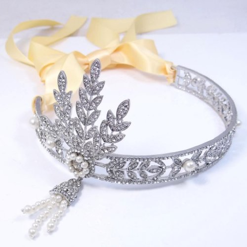 EVER FAITH® Silver-Tone Movie Inspired Leaf Simulated Pearl Headband Hair Tiara Champagne Color