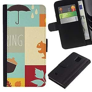 Paccase / Billetera de Cuero Caso del tirón Titular de la tarjeta Carcasa Funda para - Autumn the new spring - Samsung Galaxy Note 4 SM-N910