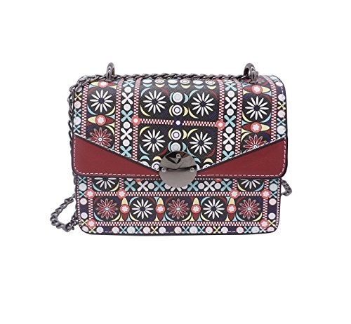 LIKE IT LOVE IT Floral Cross Body Purses PU Leather Cross Shoulder Bag Messenger Bag Chain (Chain Floral Cross)