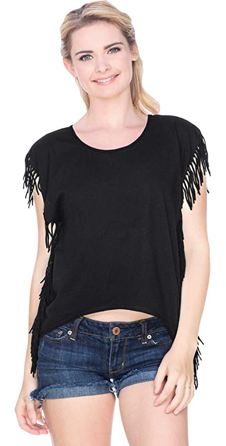 0afbb9915b454 Buy Kavio Juniors Sheer Jersey Raw Edge Side Fringe Asymmetrical Cap Sleeve  Crop Top Black L Online at Low Prices in India - Amazon.in