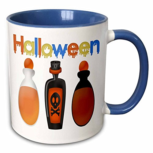 3dRose Anne Marie Baugh - Halloween - Halloween Bottles Of Poison With The Word Halloween - 15oz Two-Tone Blue Mug (mug_216946_11)