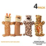 4 pack set of dog water bottle toys. Crunching plush toy with velcro. Great for teething, chewing and playtime. Crackle toy with squeaker and stuff less. Great gift for puppies and dogs. 16oz Bottle