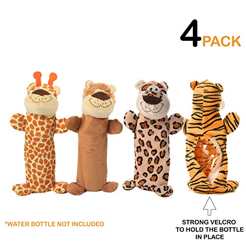4 pack set of dog water bottle toys. No stuffing plush toy with velcro. Great for teething, chewing and playtime. Crackle toy with squeaker and stuff less. Great gift for puppies and dogs. 16oz Bottle