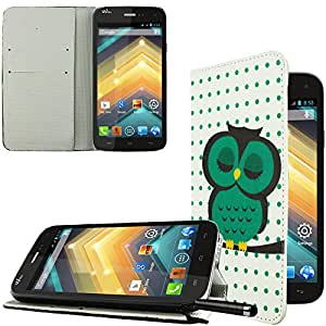 Ownstyle4you cobertura side case con funcion de stand para Wiko Highway Signs ncl. Protector de Pantalla OWL GREEN