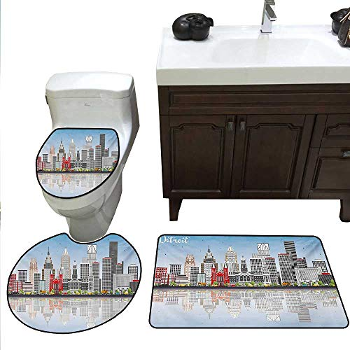 Anshesix Detroit Bathroom Rug Set Detroit Skyline with Skyscrapers and Modern Buildings Clear Sky Water Reflection Toilet Carpet Floor mat Set Multicolor ()