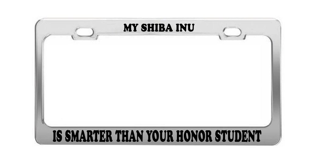 SHIBA INU DOG DOGS BLACK License Plate Frame Tag Holder
