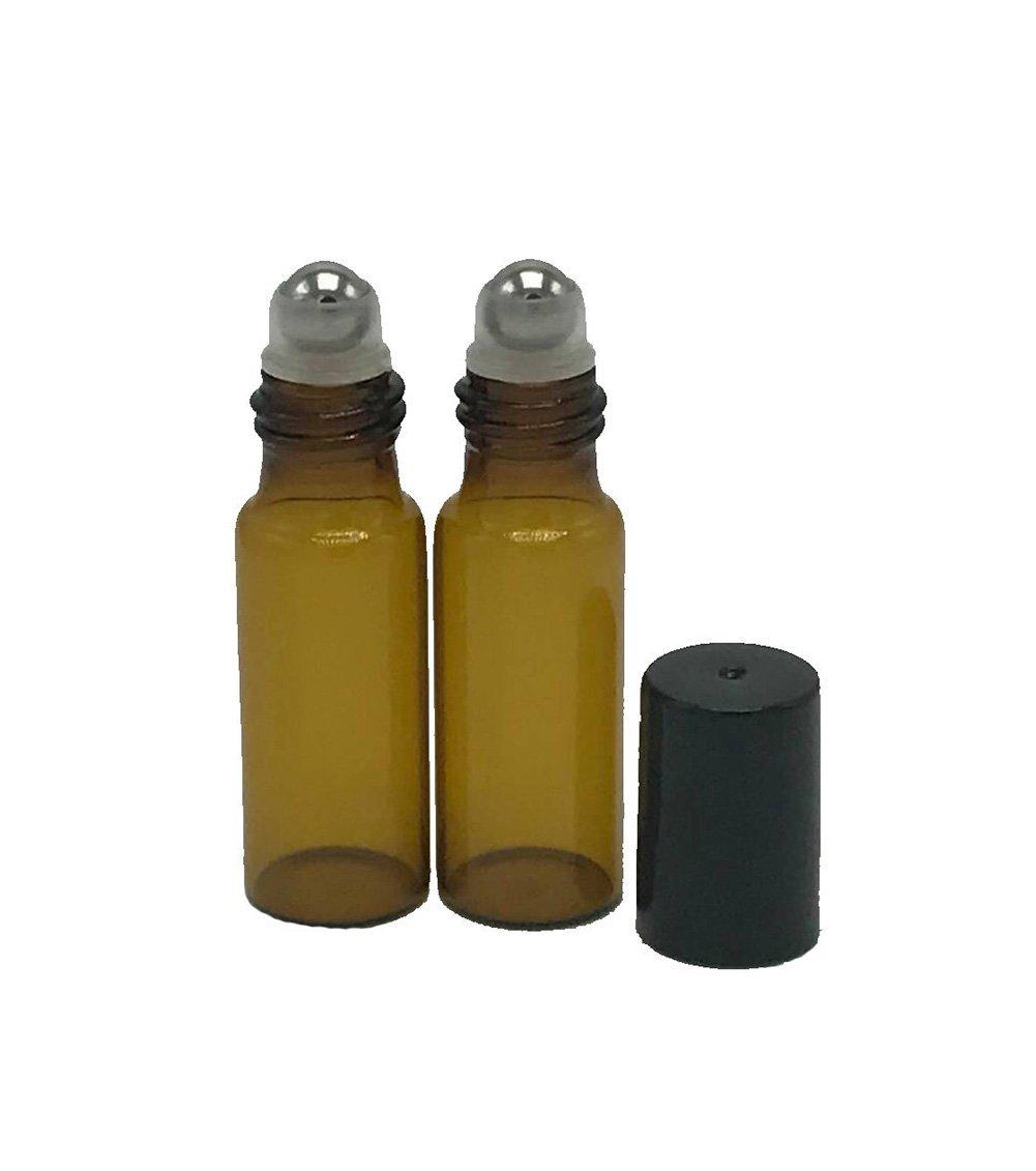 1ml set di 25/mini boccette di vetro con roller Hugestore per oli essenziali riutilizzabili per aromaterapia color ambra