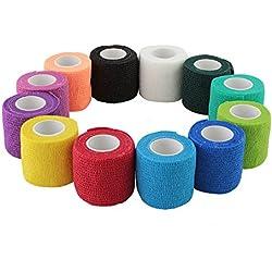 """WildCow Vet Wrap 2"""" Bulk Tape Dog Bandages, 12 Color Pack Pet Leg Raps"""