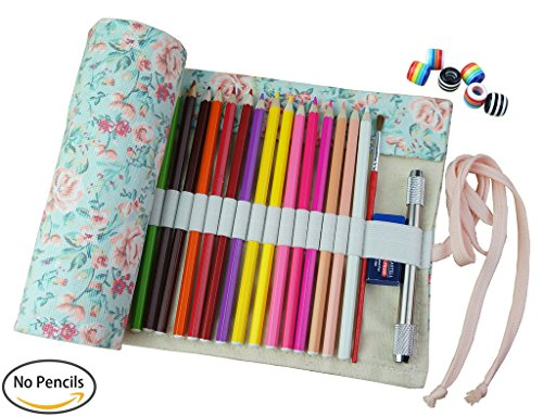 CreooGo Canvas Pencil Wrap, Pencils Roll Pouch Case Hold For 48 Colored Pencils ( Pencils are not included )-Countryside,48 - Store Countryside