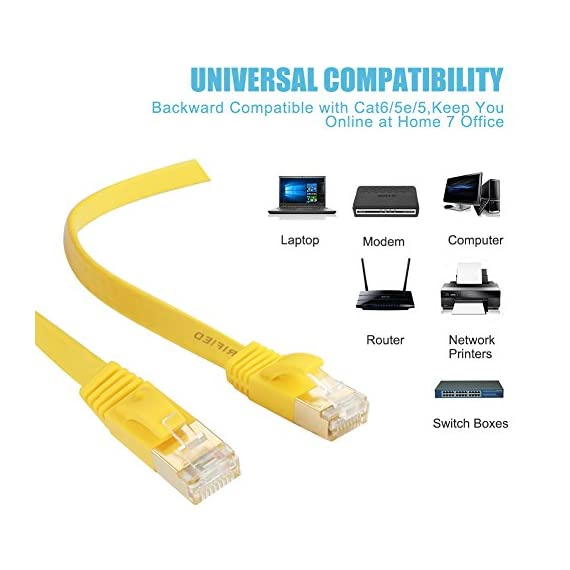 Cat 7 Shielded Ethernet Cable 5 ft 6 Pack (10GB) - Jadaol Fastest Cat7 Flat Ethernet Patch Cables - Internet Cable for… 3 Cat7 SSTP Shiedlded Ethernet Cable Standard provides performance of up to 600 mhz and could be used for 10base-t 100base-tx (fast ethernet) 1000base-t/1000base-tx (gigabit ethernet) and 10gbase-t(10-gigabit ethernet) at maximum speeds cat7 ethernet cable could be Compatible with Cat5, Cat5e cat6 and cat6A ethernet cables HIgh quality shielded RJ45 connectors - 50 Micron Gold plated Contact Pins in each Shielded