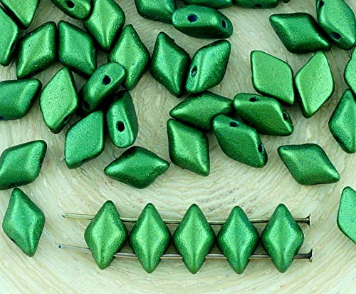 60pcs Matte Gold Shine Dark Olive Green Matubo GemDuo Rhombus Diamond Two 2 Hole Czech Glass Beads Gem Duo 8mm x ()